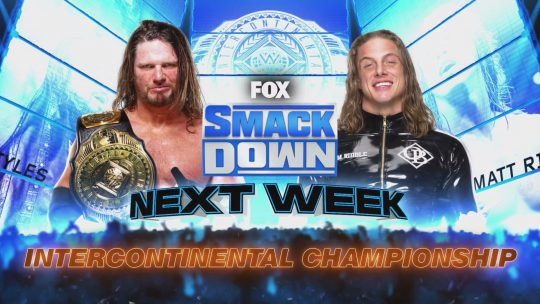 Styles vs. Riddle IC Title Match Announced for SD, Four Matches Announced for Raw