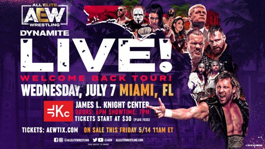 AEW Dynamite Will Return to Live Touring in July in Miami and Texas